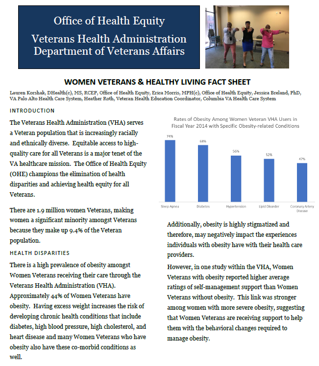 Screenshot Women Veterans & Healthy Living Fact Sheet