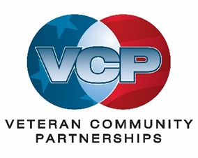 Veteran Community Partnerships logo. A blue and a red circle next to each other that overlap in the middle with the letters V, C, P in the center.