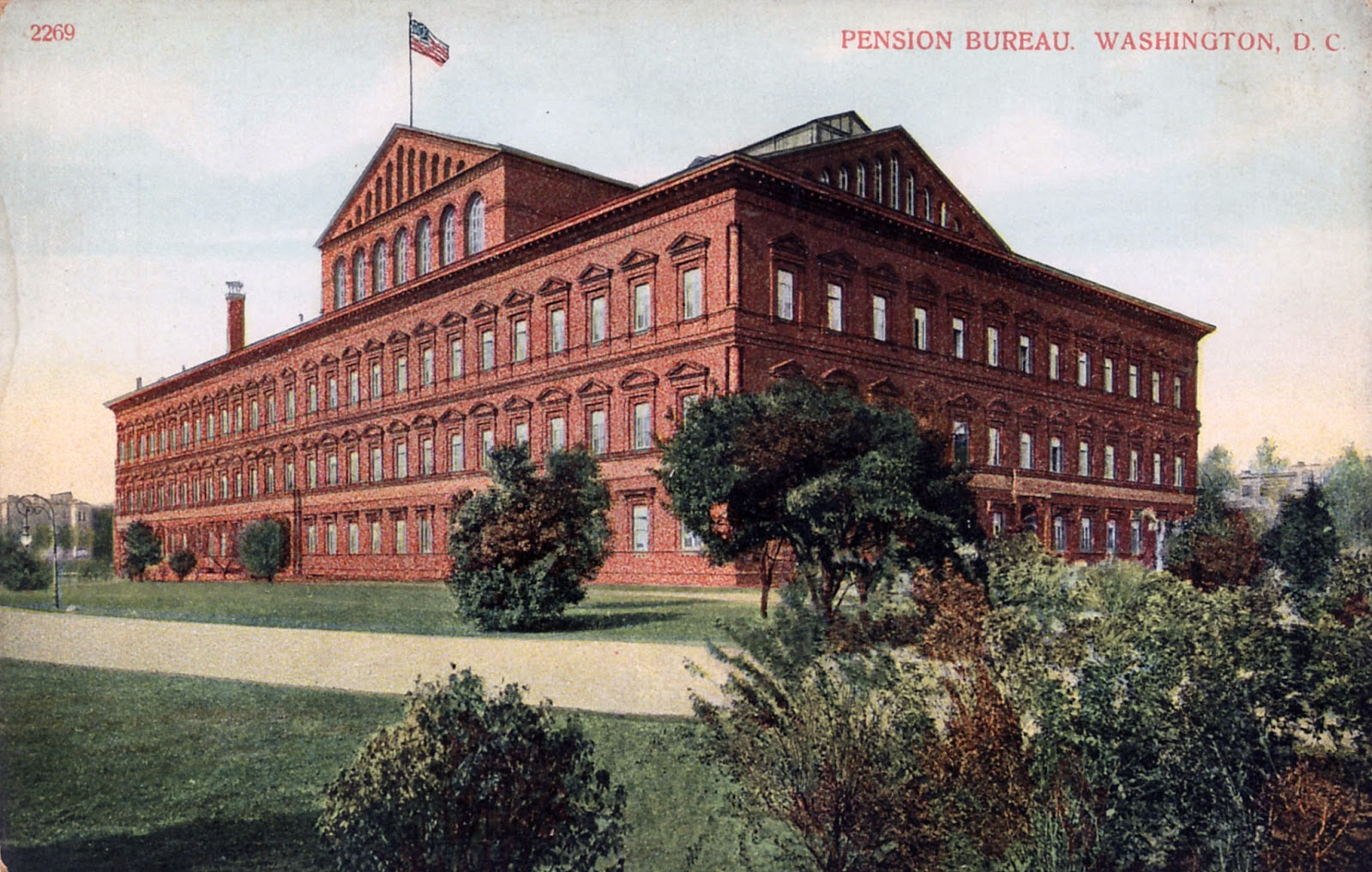 Postcard image of Pension Building