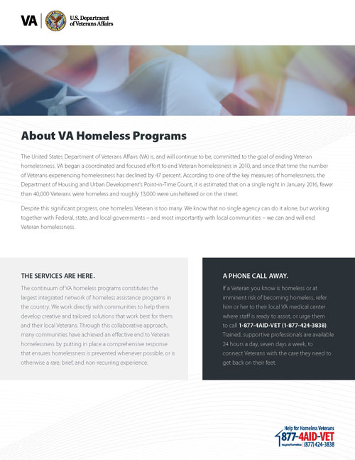 About VA Homeless Programs Fact Sheet