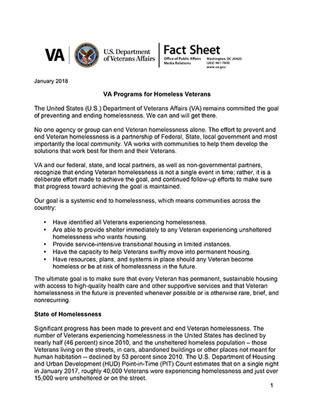 VA Programs for Homeless Veterans Fact Sheet