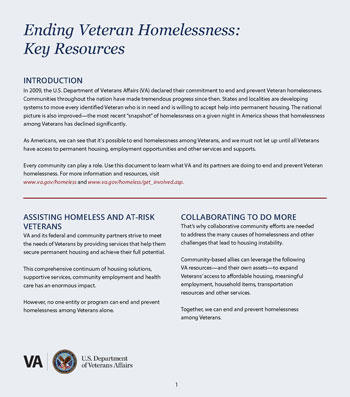 Key Resources to End Veteran Homelessness Fact Sheet
