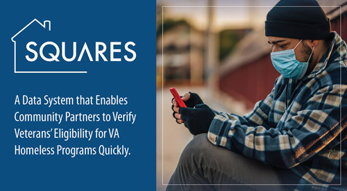 SQUARES: a Data System that Eables Community Partners to Verify Veterans' Eligibility for VA Homeless Programs Quickly.