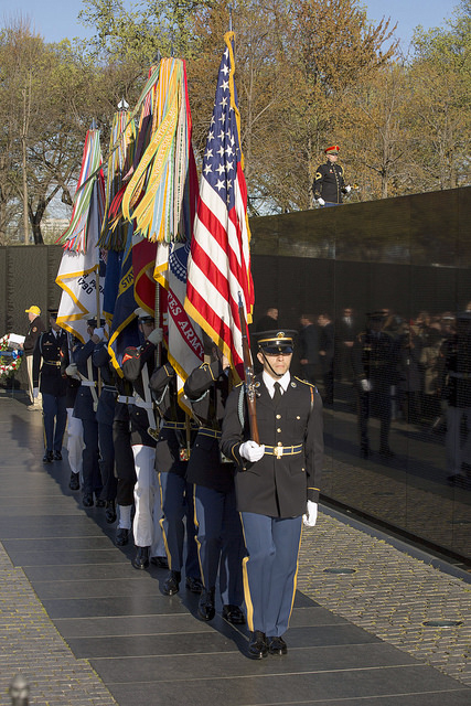 wreath-laying ceremony at the Vietnam Veterans Memorial