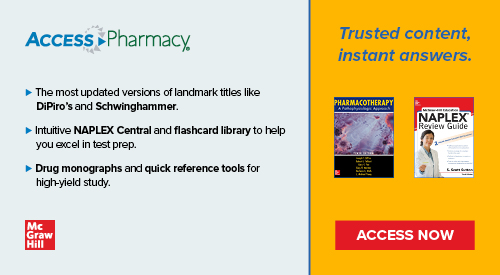 shows 2 books covers and text about AccessPharmacy