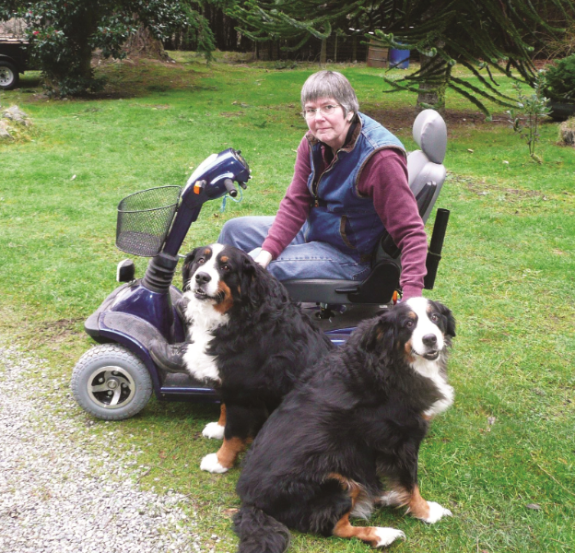 Mary Stoll sitting in wheelchair with two dogs