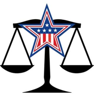 Law scales with american flag star