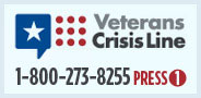 Graphic for the Veterans Crisis Line. It reads Veterans Cris Lins 1 800 273 8255 press 1