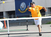 Veteran Reverend James Mitchell playing Pickle Ball.