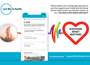 Live Whole Health app shown on phone screen with smaller heart icon and man walking icons linked to phone.
