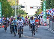 Photo of Veterans competing in the bicycling event at the 2018 National Veterans Golden Age Games