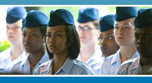Female Airmen standing in formation