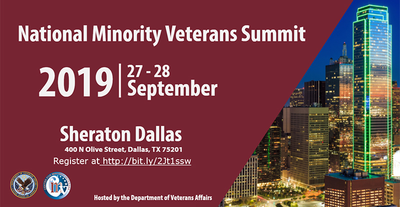 National Minority Veterans Summit, September 27-28, 2019, Sheraton Dallas