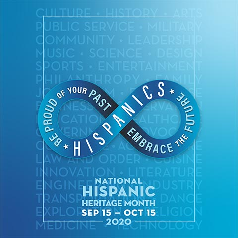 Hispanics * Be Proud of Your Past * Embrace the Future - National Hispanic Heritage Month September 15-October 15 2020