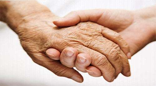 photo of a younger hand holding and older hand