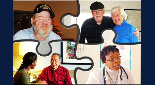 Puzzle with Veterans, caregivers, doctors