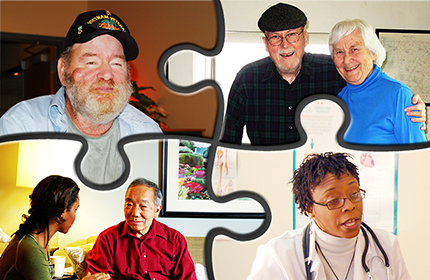 puzzle with images of Veterans, caregivers, social workers and care team