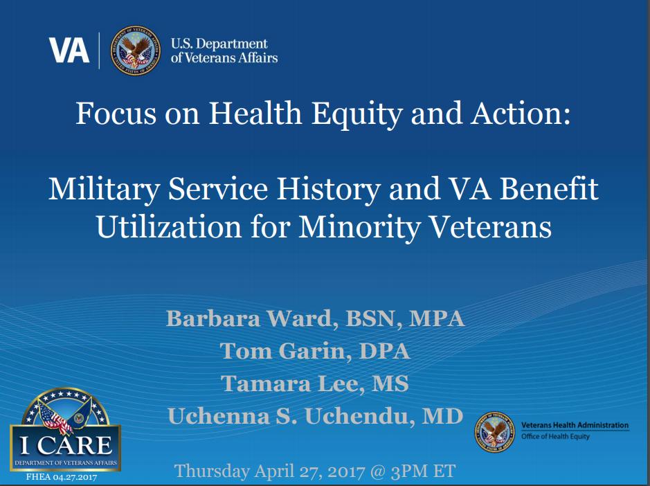 Military Service History and VA Benefit Utilization for Minority Veterans