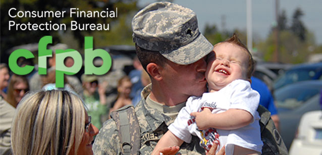 Picture of a military man and his family and the Consumer Financial Protection Bureau logo