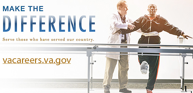 Picture of one person helping another balance while the other stands on one leg with the other raised. Text reads: MAKE THE DIFFERENCE - Serve those who have served our country. vacareers.gov
