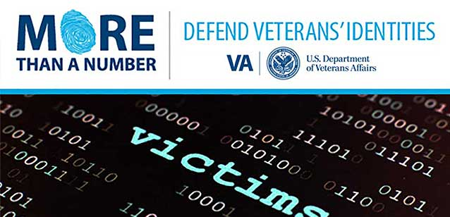 Graphic with the words: Defend Veterans Identities