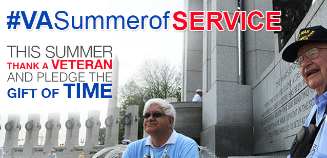 Image of a two veterans seated at the WW2 memorial in Washington DC. The title reads #VASUMMEROFSERVICE. This summer thank a Veteran and pledge the gift of time.