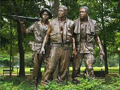 A statue of three soldiers located at the Vietnam Veterans Memorial in Washington D.C.