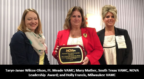 Mary Mather receives award from NOVA Board Members