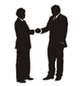 Silhouette of business people shaking hands
