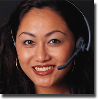Woman wearing a headset and smiling