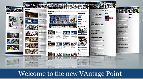 Image of the many different page layouts of the new VAntage Point blog. Text reads: Welcome to the new VAntage Point.