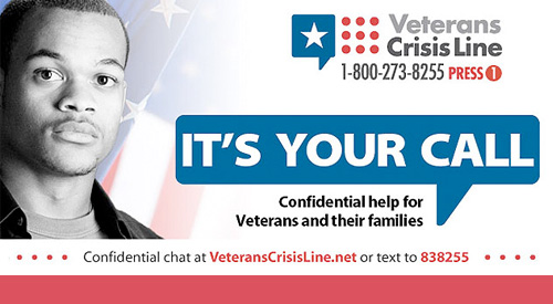 Veterans Crisis Line graphic and contact information