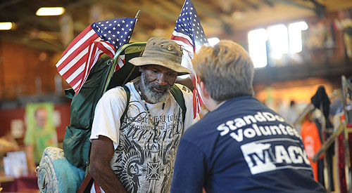Homeless Veteran receiving help
