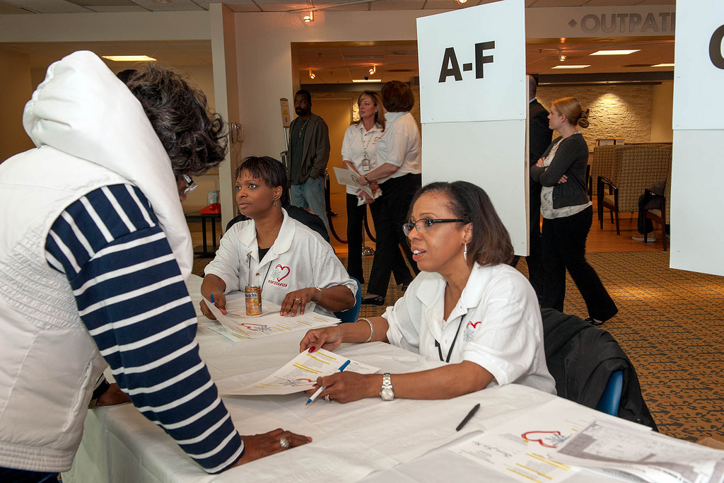 Volunteers register Veterans during the annual Winterhaven stand down event at the Washington D.C. VA Medical Center.