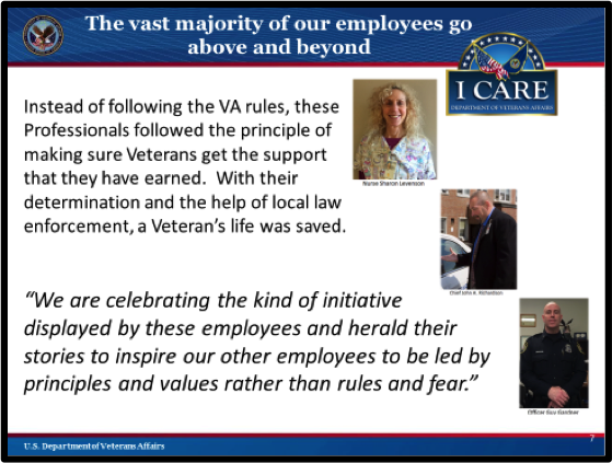 CHART 7:  VA EXCEPTIONAL EMPLOYEES. The content on this slide is explained below