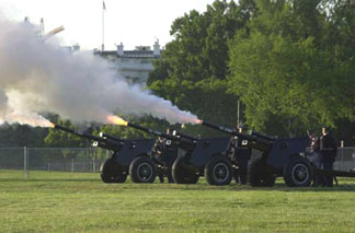 Guns firing during a gun salute