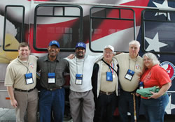 (L to R) Volunteer Driver-Brian Pegouske, Leonard Marcilous, Royal Pollard, Harold Harris, Robert Routley, Sr., and Diana Routley.