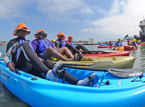 Participants at the kayaking venue of the 2011 National Veterans Summer Sports Clinic.