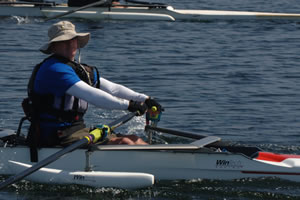 Participant rowing at the National Veterans Summer Sports Clinic.