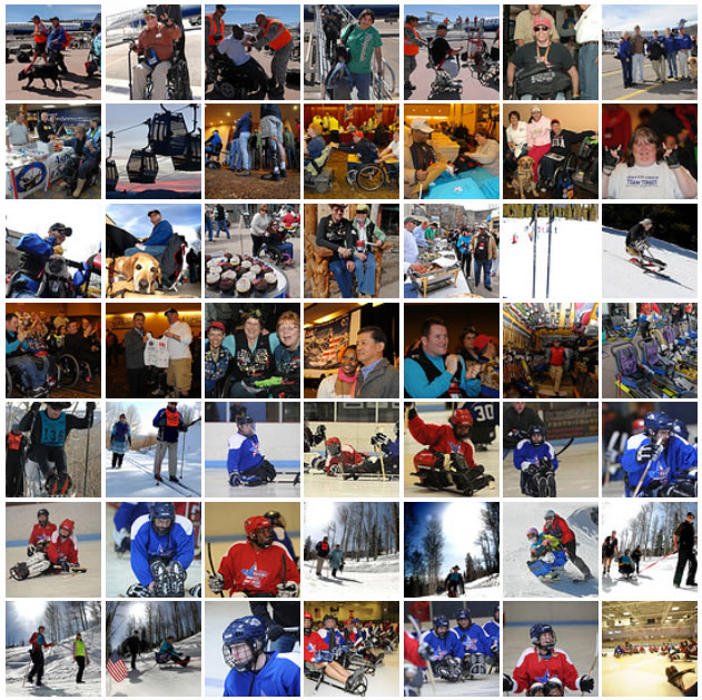 thumbnail images of the 2012 National Disabled Veterans Winter Sports Clinic in Snowmass Village, Colorado.