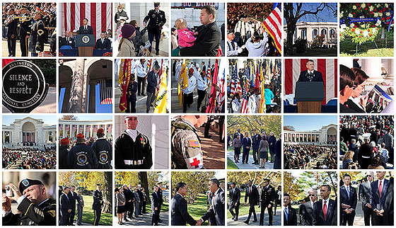 Many thumbnail images of the 2011 Veterans Day Ceremony at Arlington cemetary