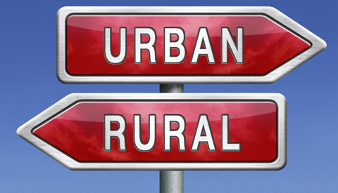 Urban or rural road sign