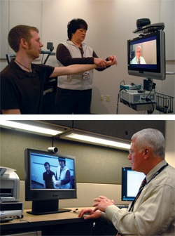 Two images of a patient and a doctor using Telehealth to communicate remotely