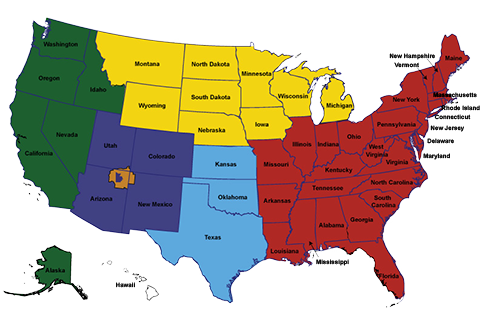 map of the united states showing the regions which the Office of Tribal Government Relations covers