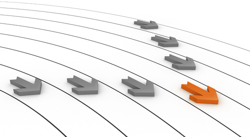 Seven arrows on a track moving forward - the middle (orange) arrow leading