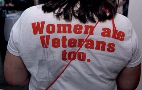 A woman Veteran wearing a t-shirt with the caption Women are Veterans too.